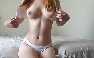 Puny lil' ginger darling with a super-cute pair of jugs is here to taunt her taut cunt crevice