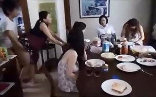 Naughty Chinese fellow is banging his wifey in front of his family, and loving it